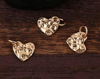 "5 ""Heart"" charm hammered gilt 1,4 cm"