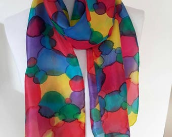 Handpainted silk scarf, silk scarves,colourful scarf,handyded,spotted scarf,  ladies scarf,silk scarf,11 x 60 in,pink,red,yellow,green,scarf