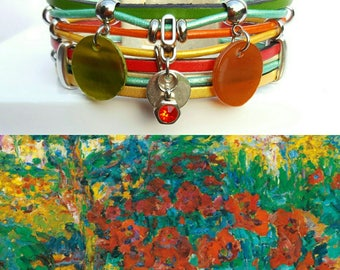 """Multicolor leather Cuff Bracelet """"Monnet 2"""""""