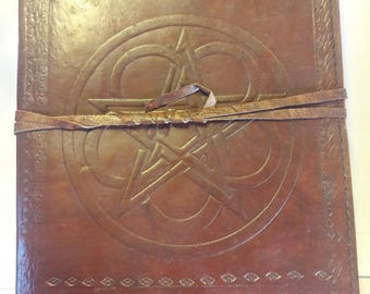 Leather Bound Book of Shadows/Journal With Pentacle Pattern