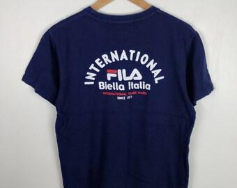 Rare !! Vintage FILA INTERNATIONAL Biella Italia Big Logo Spell Out Blue Crew Neck T Shirt Medium Size