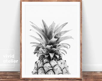 Pineapple, Black and White Pineapple Print, Watercolor Pineapple, Printable Pineapple, Pineapple Wall Art, Best Selling Items, Pineapple Art