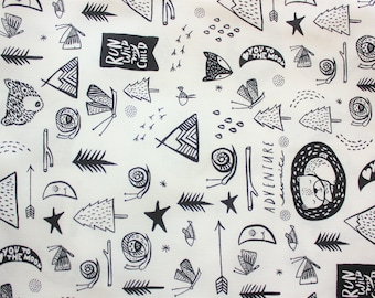 Wee Gallery fabric for Dear Stella, Black White, Monochrome, Stimulate Baby Visual Development with Playmats, Blankets, Quilt, Nursery, 0.5m