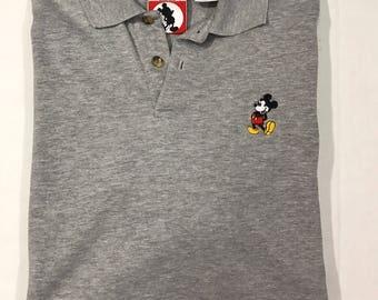 Vintage Mickey Mouse Polo Shirt Sz M Disney Disneylabnd Mickey grey 90s grey collared shirt