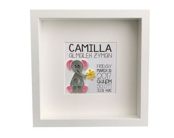 Baby Nursery Wall Art Personalized Framed Paper Quilled Elephant with birth Information (personalized)