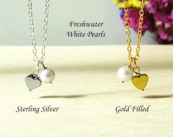Single Pearl Necklace With Tiny Hematite Heart, Dainty White Pearl Necklace, Gold Heart Necklace, Bridesmaid Gift, Wedding Jewel, Minimal