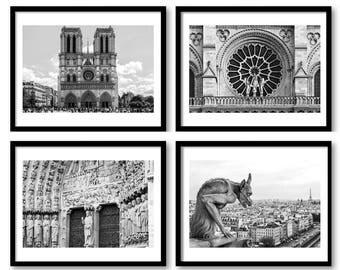 Paris photos,Paris wall art,Notre Dame de Paris,Black and white prints,Paris print, set of 4 prints,religious art,wall art black and white