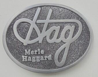"""Cool Merle Haggard """"HAG"""" belt buckle new"""