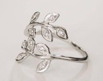cz leaf ring, flower ring, nature ring, wrap ring, adjustable ring, silver leaf ring, women leaf ring, floral ring, floral, minimal ring