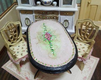 Novelty OOAK oval table scale 1:12 hand painted for dollhouse hand painted in shabby chic style