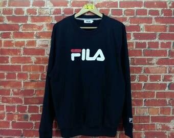 Vintage FILA Jumper Sweater Large Black 90's Fila Biella Italia Big Logo Fila Sportswear Crewneck Pullover Sweatshirt Size L