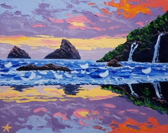 Beach art painting, canvas painting ocean, sunset oil painting by Ryan Kimba