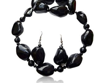 Black and Pink Pebble Beads Fashion Necklace Earring Jewellery Set