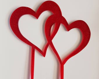 Red glitter double hearts cake topper