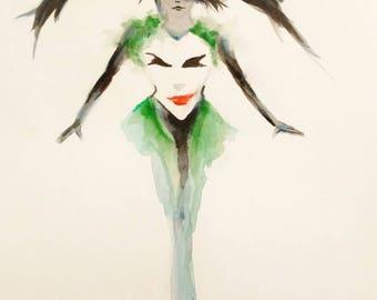 Original painting Joker and Harley Quinn art / original illustration DC suicide squad / batman devils / Suicide squad