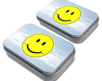 Happy Smiley Face Decorative Craft Trinket Metal Tin Box Set Of 2