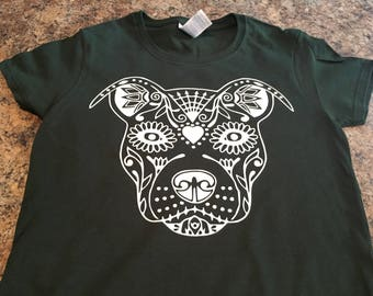 Sugar Skull Pit Bull tshirt. Pit Bull lover tshirt is great for all ages!