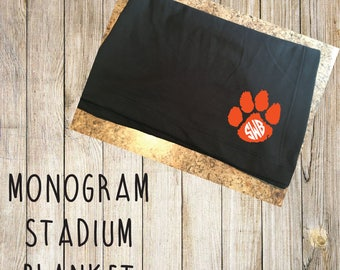 Tiger paw Monogram Stadium Blanket.  Fall Football stadium throw blanket.  Sweatshirt material.