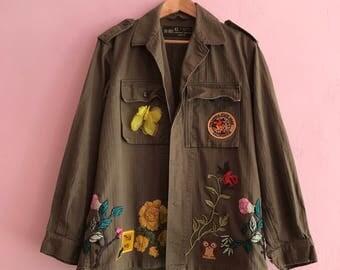 Vintage Army Jacket embellished camouflage