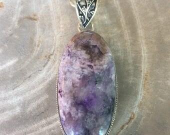Charoite Sterling Silver Necklace Purple Gemstone 925 Silver Charite Black Gemstone