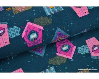 Dark turquoise print corduroy fabric owls x50cm