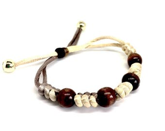 Gifts for Girls, Bracelet Jewellery, Brown wooden Bracelet with beads, adjustable closure. Gift Box Included Birthday Gifts, Gifts for Women