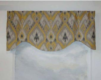 Warm Gray and Gold Ikat Valance