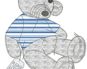Applique Teddy Bear - Machine Embroidery Design 5*7, 6*8