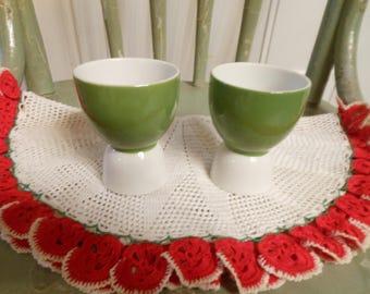 Vintage Green and White Porcelain/Ceramic Egg Cups