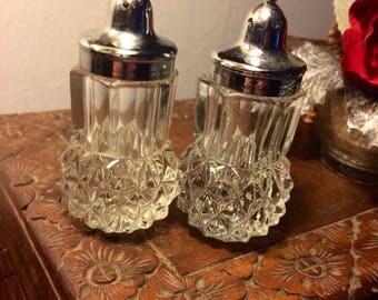 Vintage Diamond Point Crystal Salt and Pepper Shakers