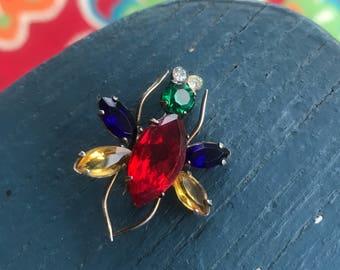 Antique Multi Colored Rhinestone Bug Fly Pin Brooch