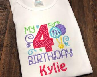 Personalized Birthday Shirt, Monogrammed Birthday Shirt, Embroidered Birthday Shirt, Girl Birthday Shirt, 4th Birthday Shirt