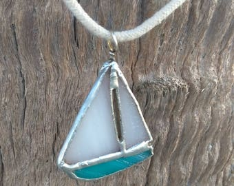 Sailboat Stained Glass Necklace Beach Jewelry Coastal Jewelry Beach Lover Gift for Her Mermaid Lover Unique Jewelry