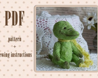 PDF Pattern & Tutorials for Teddy Crocodile toy viscose pattern tutorial master class
