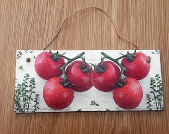 tomato plaque - food plaque -tomatoes - kitchen decor - kitchen plaque - gardener gifts - gardener plaque  - best selling items