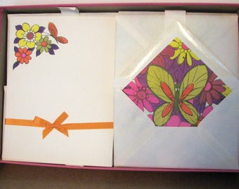 SPRING SALE Vintage Mod Stationery Flower Power Butterflies Orange and Pink 1960s