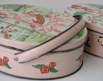 Vintage Tins Valleybrook Victorian Style Pink Lady Baskets