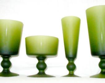 Vintage Barware Morgantown 1960s Mad Men Moss Green Set 4 Glasses
