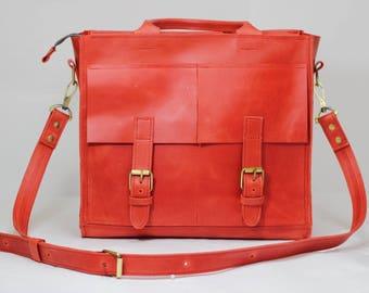 Red handmade satchel handbag