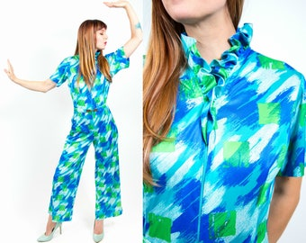 1970s Blue and Green Nylon/Poly Blend Groovy Jumpsuit - Small