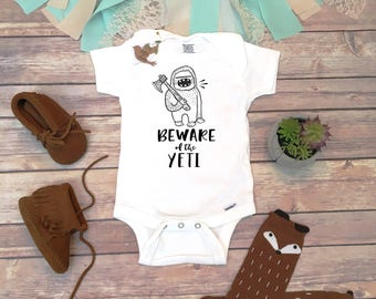 Hipster Baby Onesie®, Baby Boy Gift, Funny Baby Gifts, Hipster Baby Clothes, Camping Onesie, Funny Onesies, Unique Baby Clothes,Monster Yeti