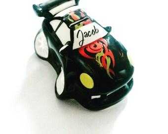 Racing Car Money Box, Childrens Personalised Money Box