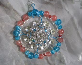 Rhinestone Pink and Blue Sun Catcher -  #042
