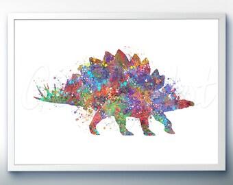 Dinosaur Stegosaurus Watercolor Art Print - Dinosaur Watercolor Art Painting - House Warming Gift