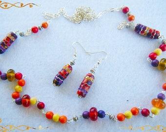 """Bahia"" set, multicolored gemstones and pearls fimo and rhinestones"