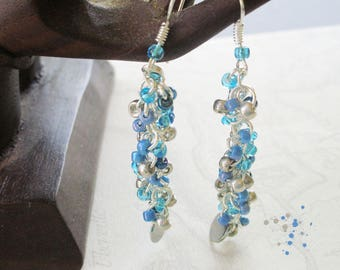 Blue and silver beaded chain earrings