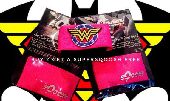 Pair of Pink sQoosh Sweatbands & Free Wonder Woman SUPERSQOOSH