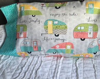 Glamping Travel Pillow Case / Fits 12 x 16 pillows / Camp Trailer / Airstream / Camping pillowcase/ Pillow Cover