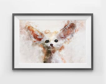 Digital Download Fennec Fox Watercolor Art Print Animal