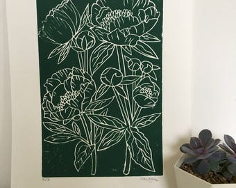 LIMITED EDITION peony flowers A3 hand printed hand carved lino print